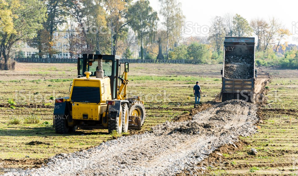 Construction site, preparation of the area under the road. royalty-free stock photo