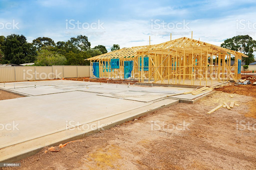 Construction site preparation stock photo