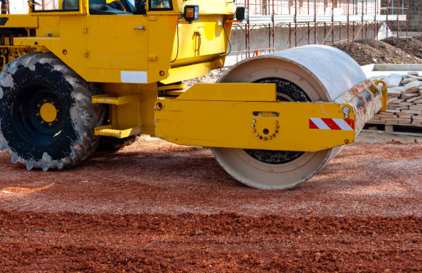 Construction site - road roller compact foundation Construction site - road roller compact foundation compactor stock pictures, royalty-free photos & images
