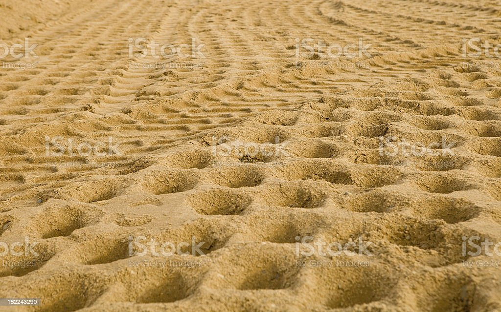 Construction Site Sand Compacted with Tracks stock photo