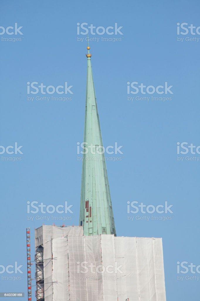 Baustelle, eingerüsteter und mit Planen verhüllte Stephanikirche stock photo