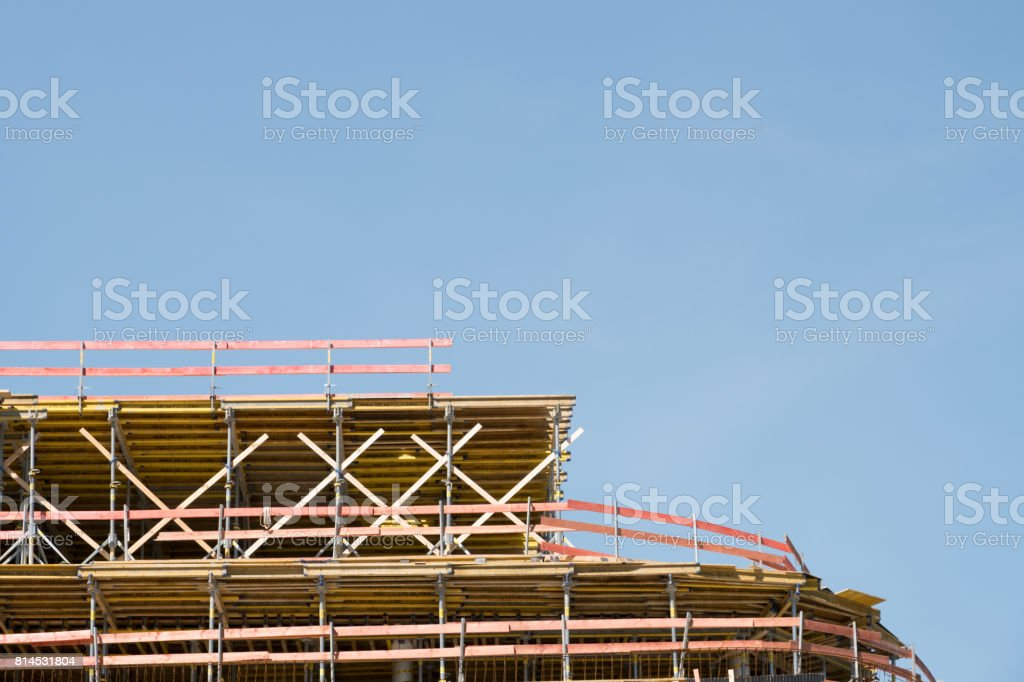 construction site , scaffolding on bulding site stock photo