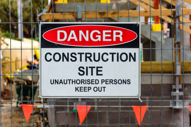 Construction site sign stock photo