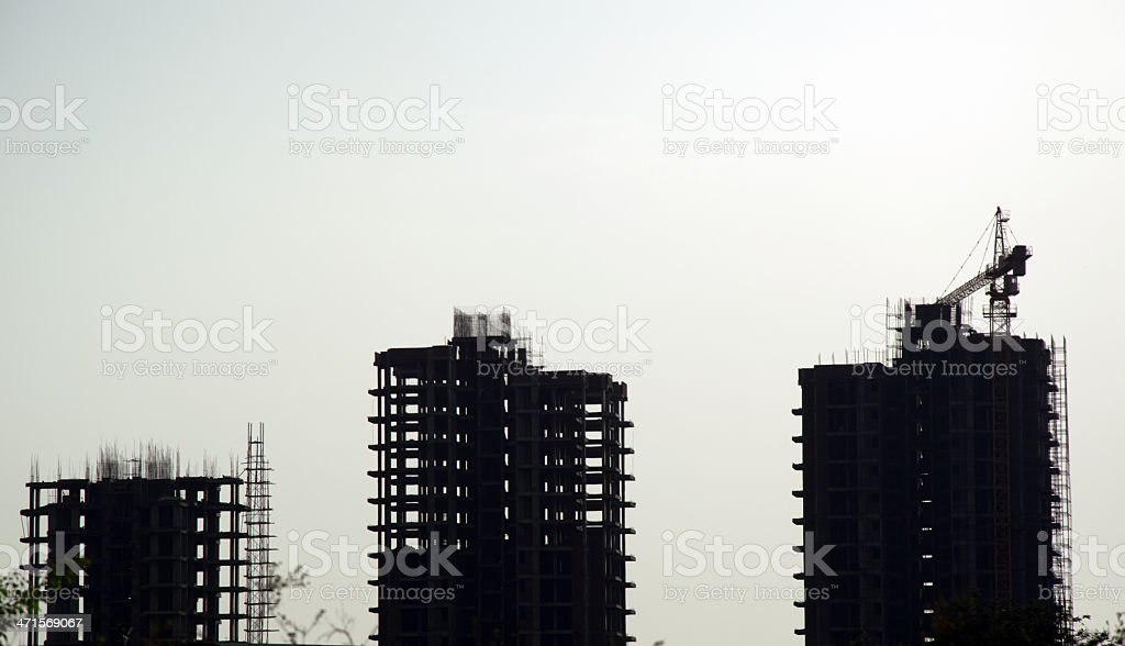 Construction Site Silhouette royalty-free stock photo