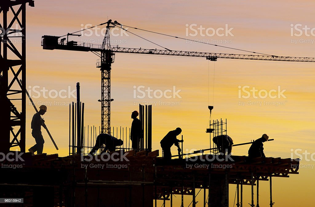 construction site silhouette stock photo