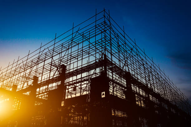 Construction Site silhouettes Construction Site silhouettes scaffolding stock pictures, royalty-free photos & images