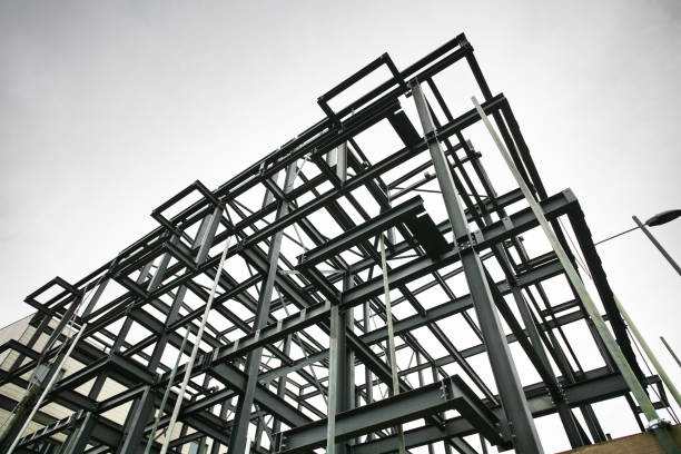 construction site steel frame - steel stock photos and pictures