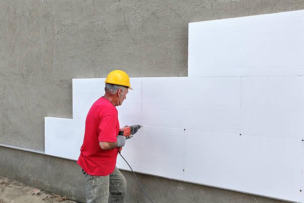 Baustelle, styrofoam Isolierung drilling mit Anker – Foto
