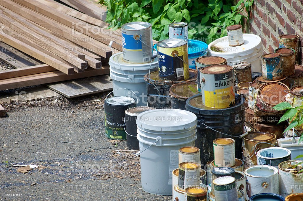 Construction site waste stock photo