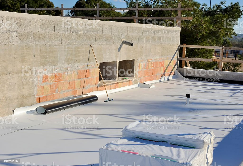 Construction site - waterproofing and insulation pvc terrace stock photo