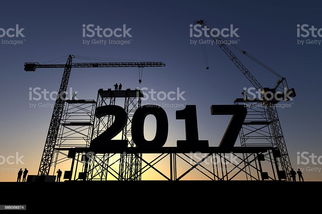 Construction site with 2017 sign stock photo