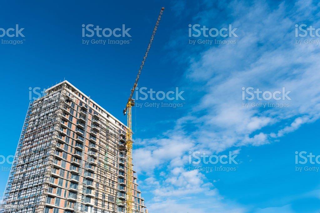 Construction site with big crane stock photo