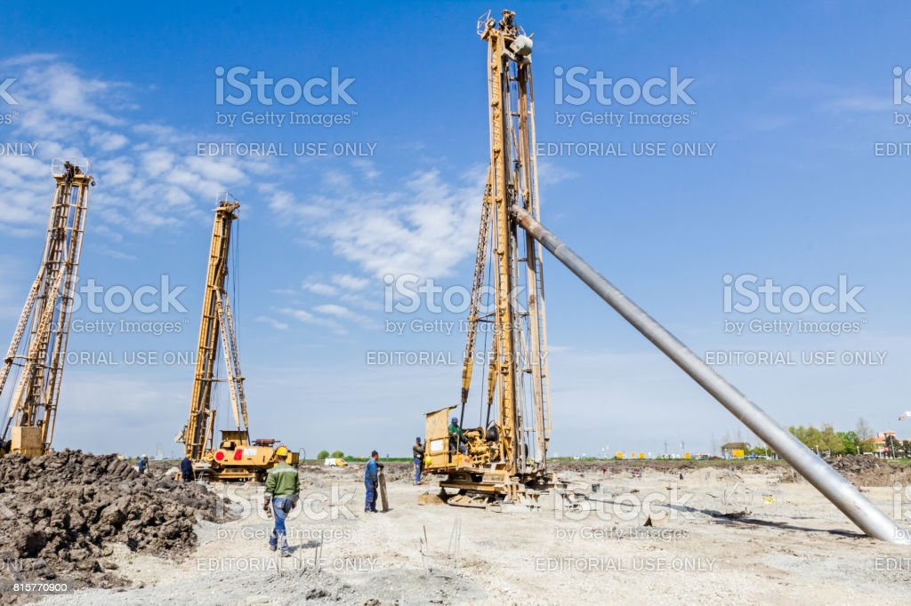 Construction site with big equipment for drilling into the ground stock photo