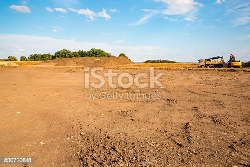 Construction site with blue sky background, territory of beginning construction