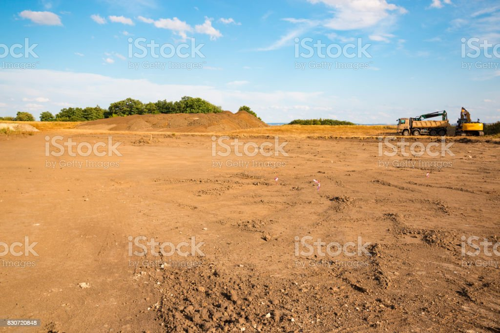 Construction site with blue sky background stock photo