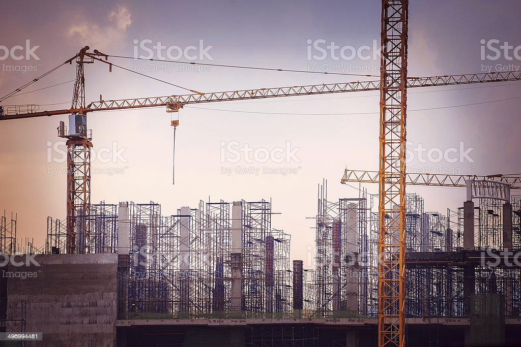 Construction site with cranes - Royalty-free Activity Stock Photo