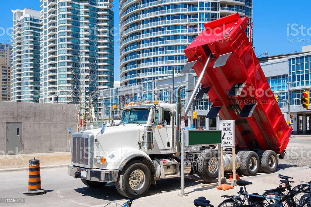 Construction Site with Dump Truck stock photo