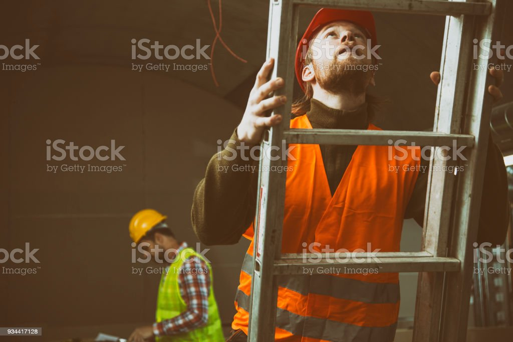 Construction site with ladder stock photo