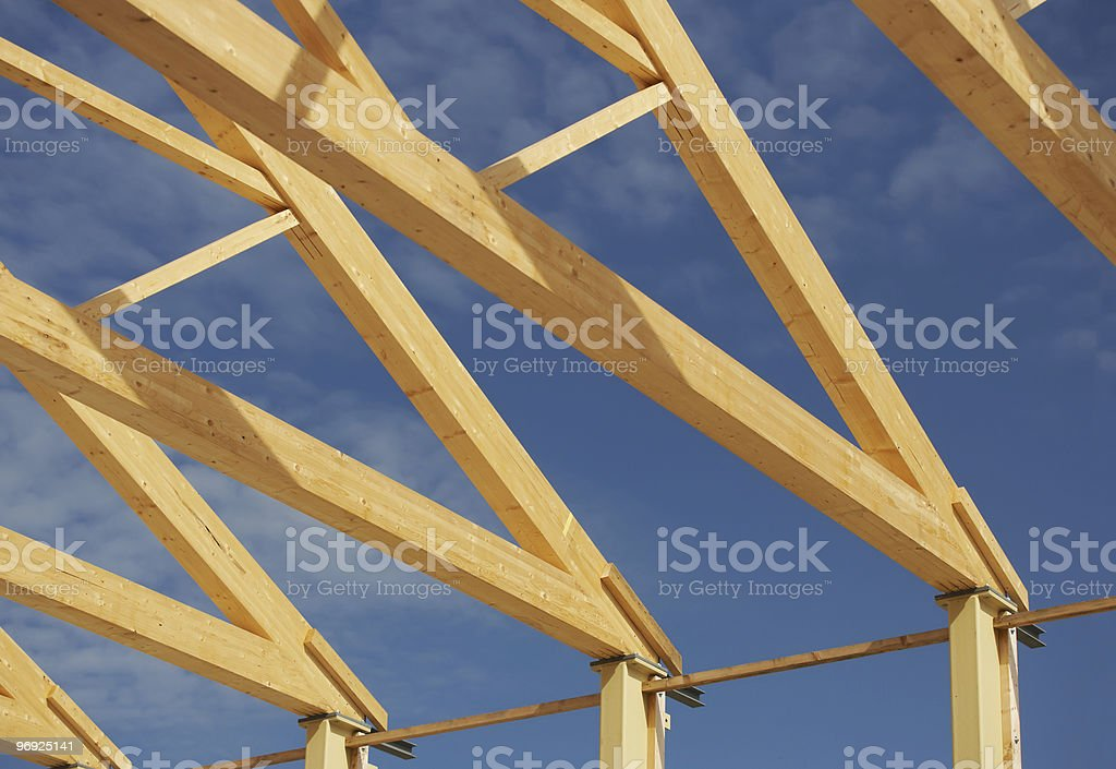 Construction Site With Roof Beam royalty-free stock photo