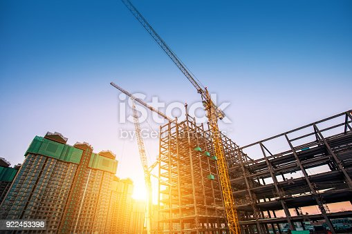 Construction site with sunlight