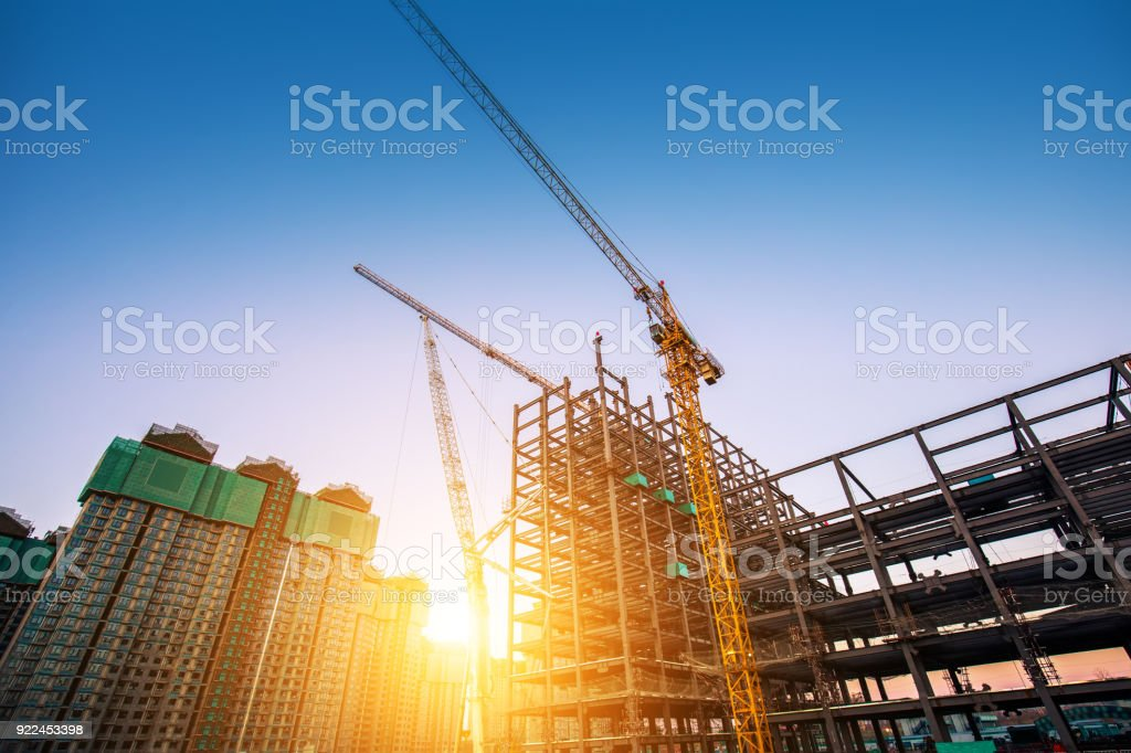 Construction site with sunlight stock photo
