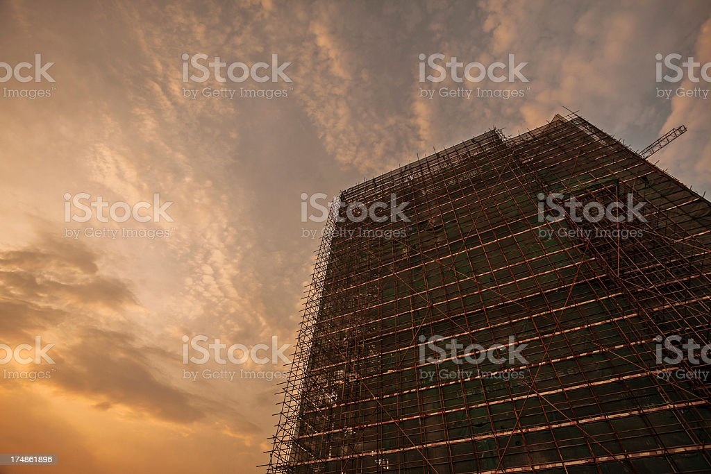 Construction site with sunset royalty-free stock photo