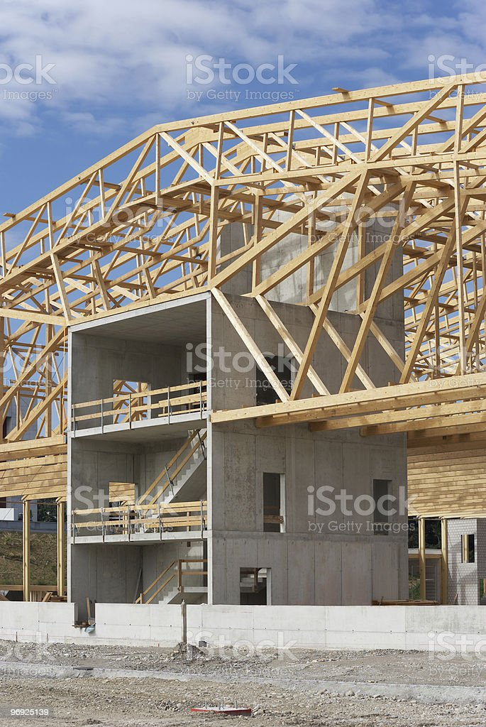 Construction Site With Timber Work royalty-free stock photo