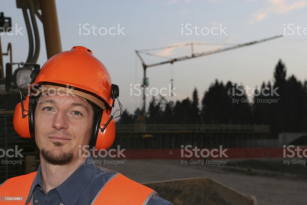 Construction site worker portrait royalty-free stock photo