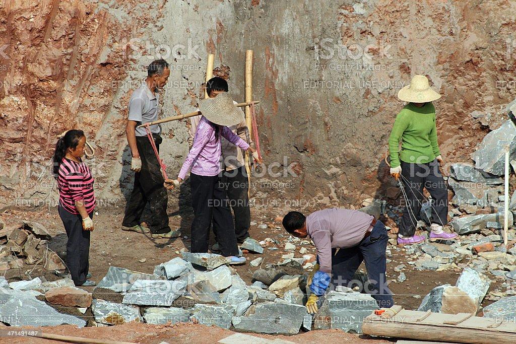 Cantiere di costruzione lavoratori, Ganzhou foto stock royalty-free