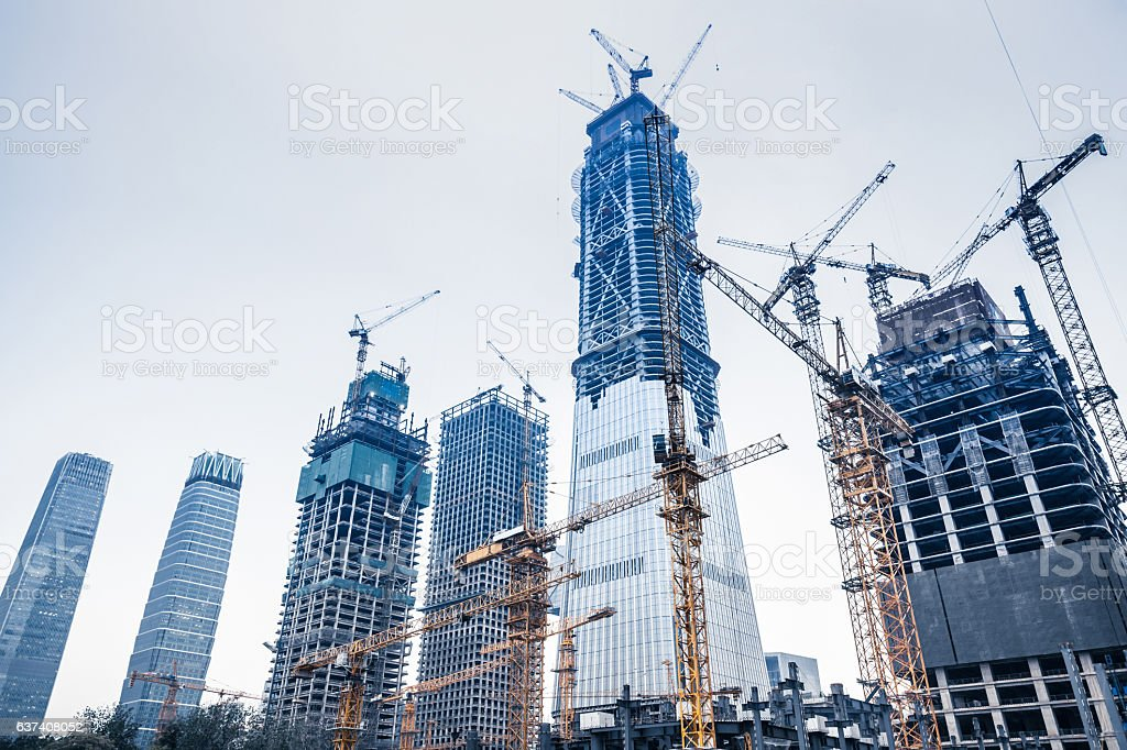 Construction sites in Beijing guomao stock photo