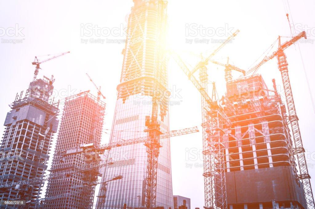 Construction sites in Beijing guomao stock photo