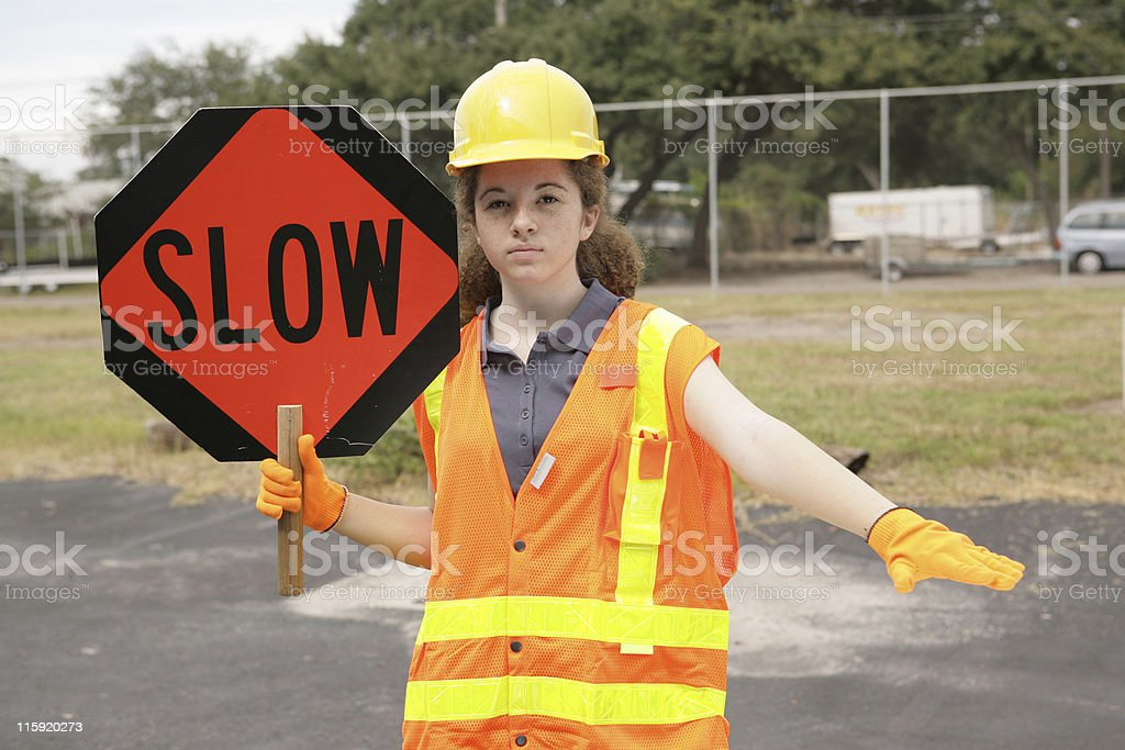 Construction Slow Sign royalty-free stock photo
