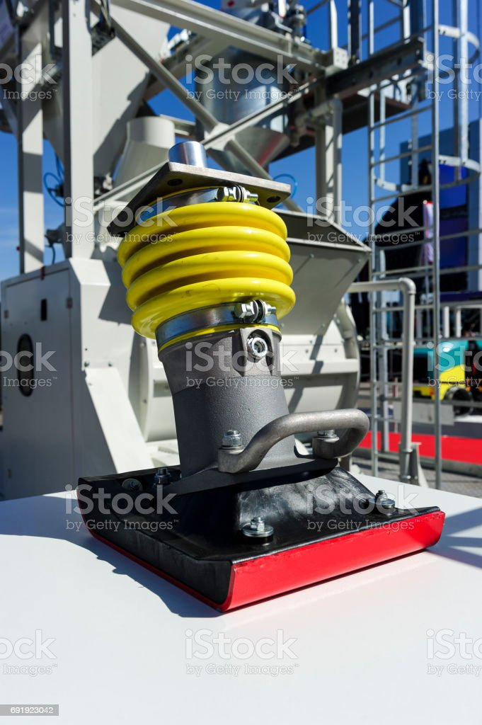 Construction soil compactor stock photo