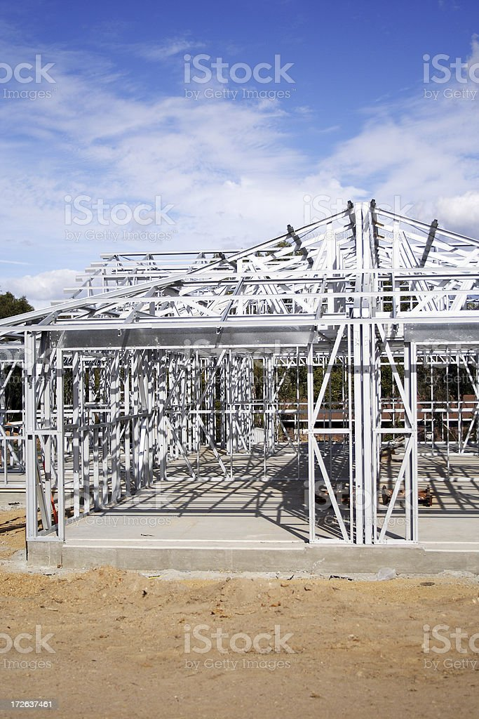 construction steel frame home royalty-free stock photo