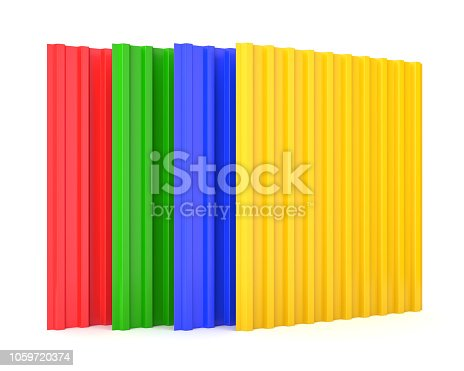 istock Construction steel profile panel sheets on white background 1059720374