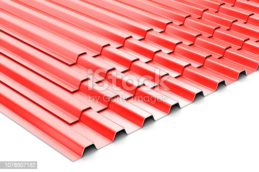 istock Construction steel profile panel sheets on white background 1078507152