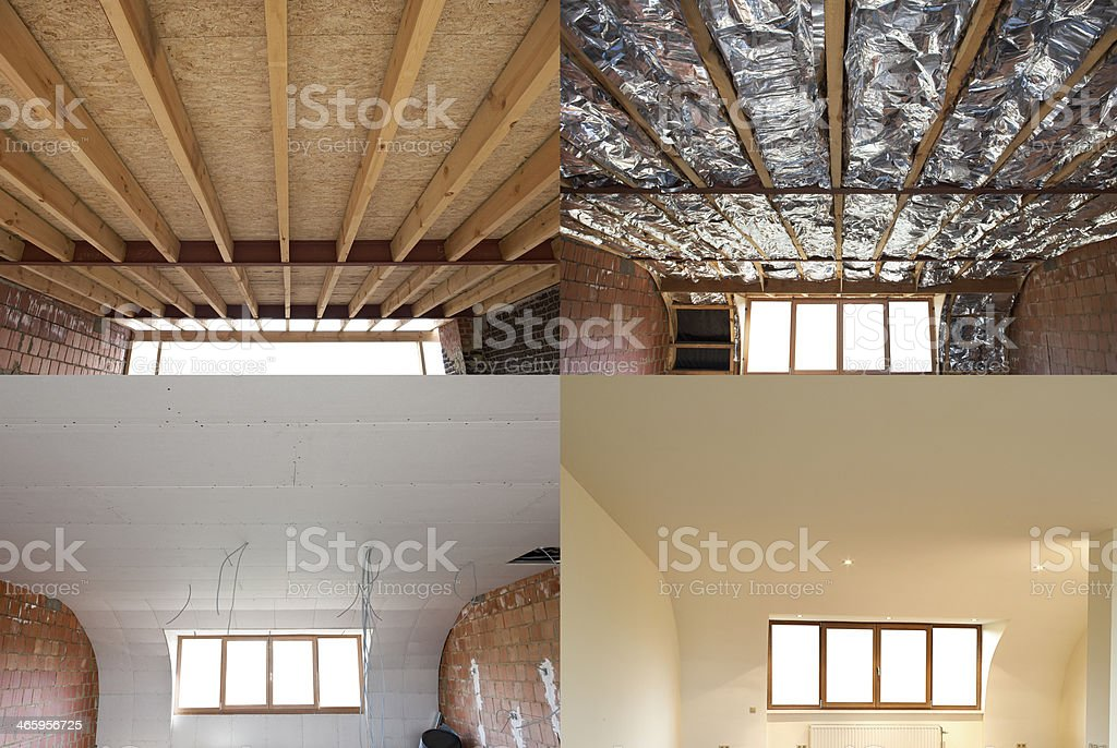 construction steps of a roof stock photo