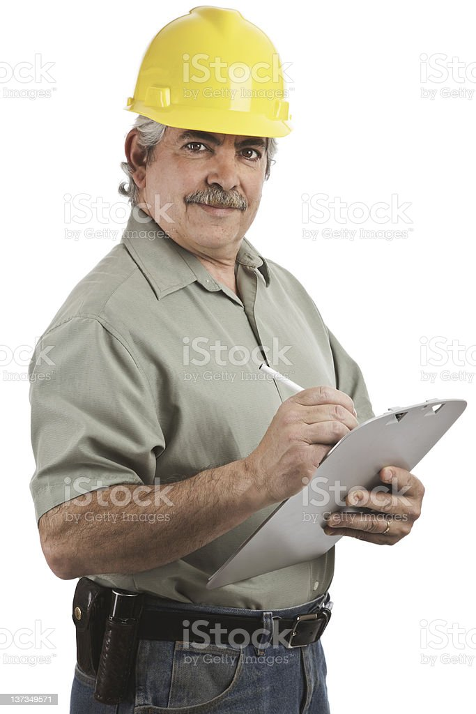 Construction Supervisor with Clipboard royalty-free stock photo