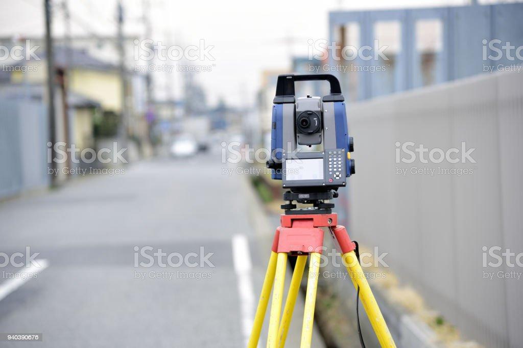 Construction surveying instrument, theodolite stock photo