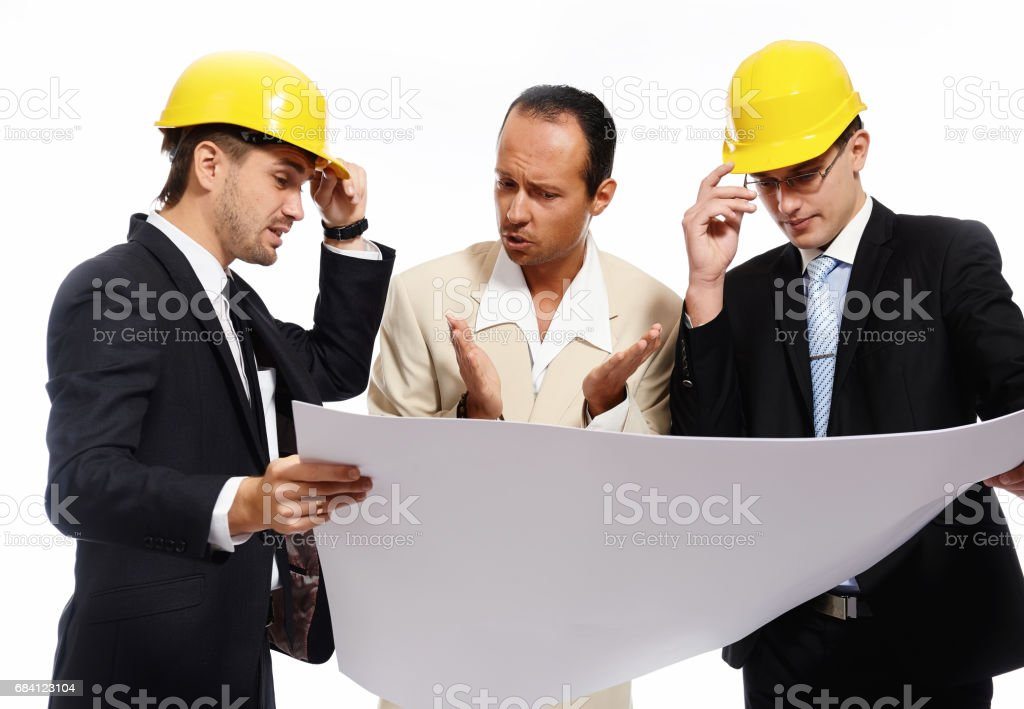 Construction team at business meeting zbiór zdjęć royalty-free