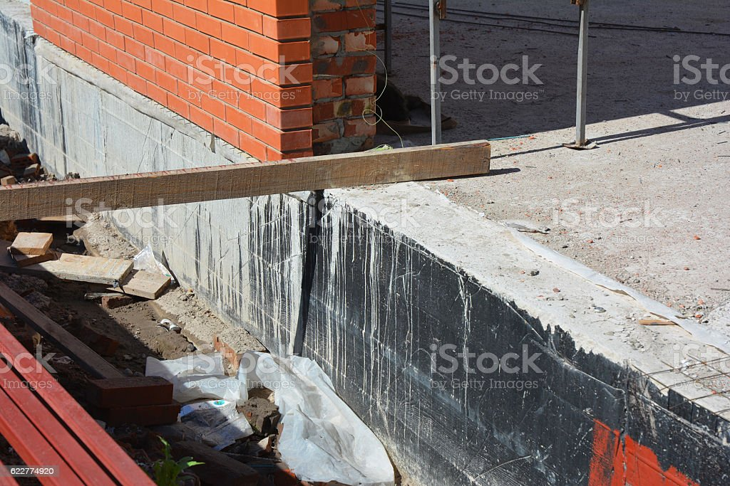 Construction techniques for waterproofing basement and foundations stock photo