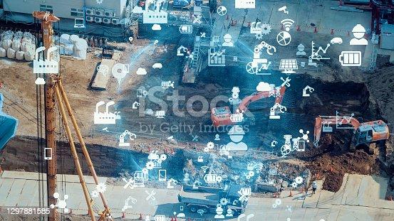 Construction technology concept. ConTech. Communication network.