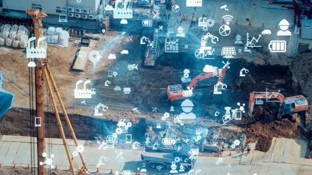 Construction technology concept. ConTech. Communication network. stock photo