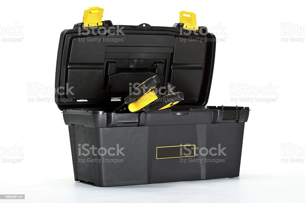 Construction toolbox with special tools inside royalty-free stock photo