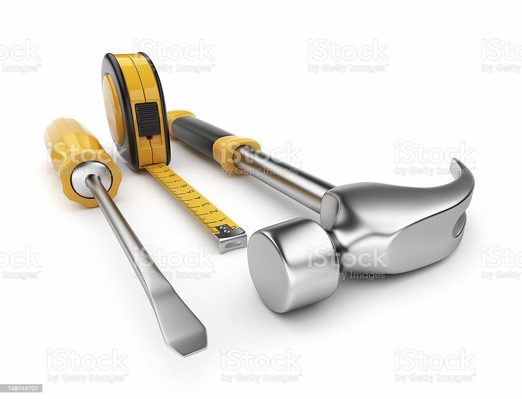 Construction tools 3D. Isolated royalty-free stock photo