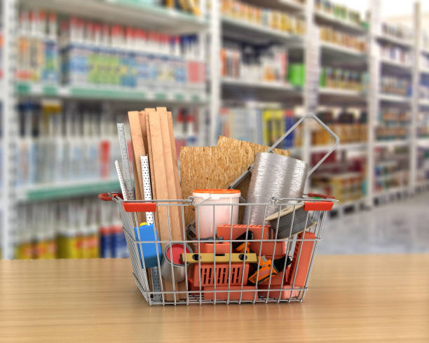 construction tools and materials inside  a shopping basket. 3d illustration stock photo