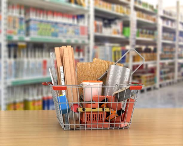 bau-tools und materialien in einem warenkorb. 3d illustration - flächeninhalt stock-fotos und bilder