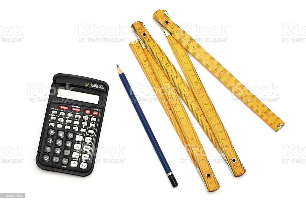 Construction tools and plan stock photo