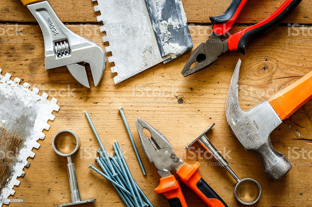 construction tools on a wooden table foto royalty-free
