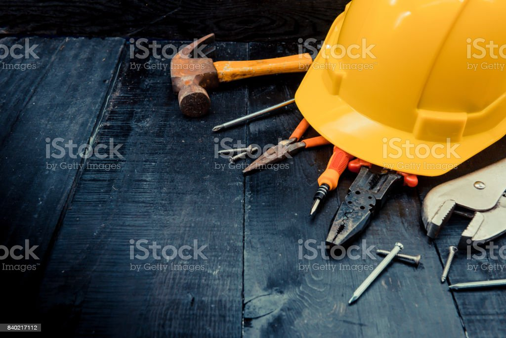 construction tools with copy space for Labor day stock photo